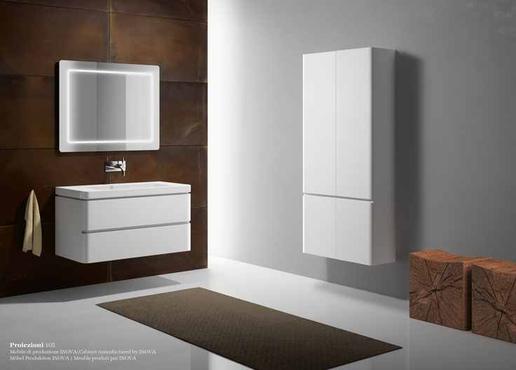 Proiezioni 105_Washbasin prearranged to install the taps in 3 different positions.   Suitable for wall-hung, semi inset or sit on installation. Cabinet manufactured by INOVA