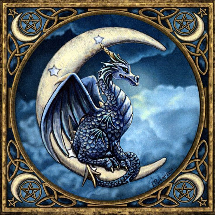 Moon Dragon Cross Stitch Pattern - Nestled comfortably in the arms of the new moon, this dragon keeps a watchful eye on the world below. Based on artwork by Lisa Parker. Design measures 350 stitches wide by 353 stitches high. #crossstitch #dragon #GryphonsMoon
