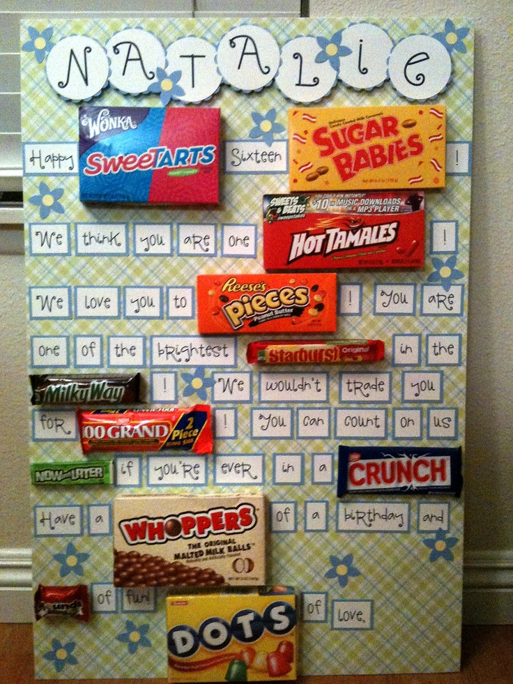 Birthday candy card on scrapbook paper covered foam board ...