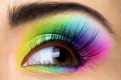 Will definitely have to try this look at some point :): Neon Parties, Eye Makeup, Eye Shadows, Rainbows Eyeshadows, Parties Makeup, Eyemakeup, Makeup Design, Makeup Products, Bright Colors