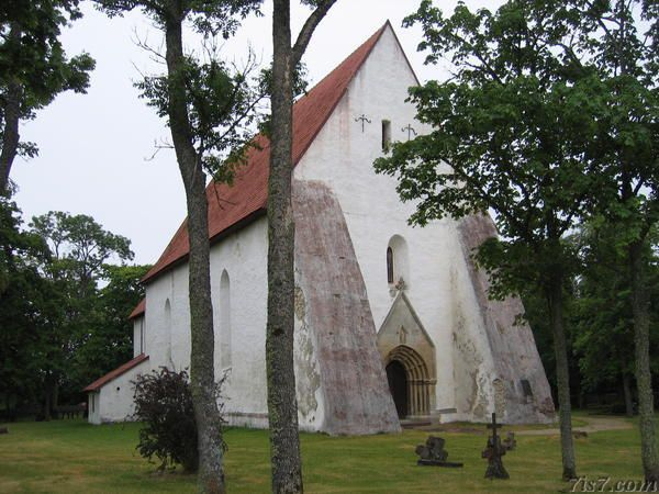 Estonia. Ridala Maria Magdalena Church  The Maria Magdalena church in Ridala was built in the second half of  the 13th century and expanded in the 15th century when the tower on the  southern side was also built. The reinforcements on each side of the  main entrance were built in 1782 after the church's wall on that side  had collapsed.