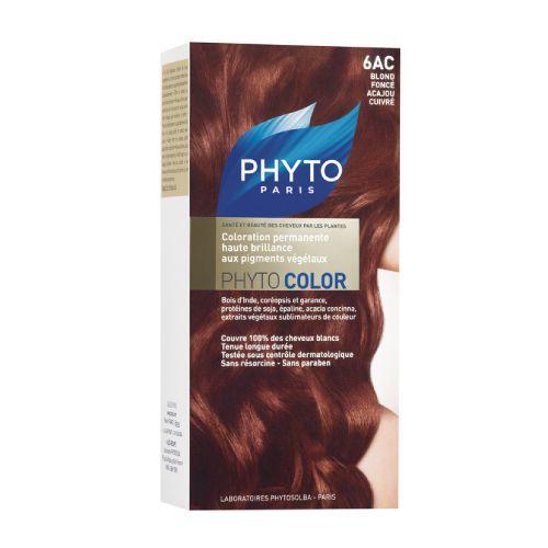 Phyto Phyto Color Tinte Rubio Oscuro Caoba Cobre - 6Ac Con extractos de plantas tintóreas (de 57 a 61% según el tono)