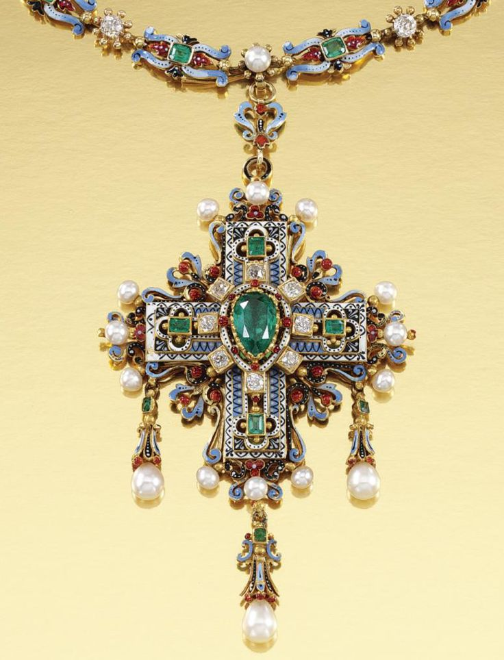 [Detail] RENAISSANCE REVIVAL, GOLD AND GEM-SET NECKLACE, ERNESTO RINZI, 1870S. Designed as a series of polychrome enamel scrolls embellished with step-cut emeralds, interspersed with pearls and circular-cut diamonds, suspending a Latin cross of matching design centring on a pear-shaped emerald and terminating on three pearl drops, length approximately 360mm, cross detachable, with maker's mark ER for Ernesto Rinzi.