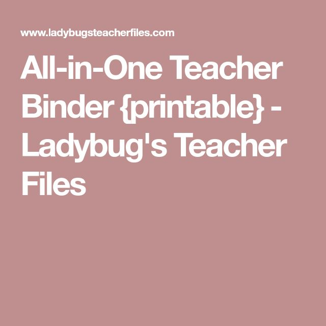 All-in-One Teacher Binder {printable} - Ladybug's Teacher Files