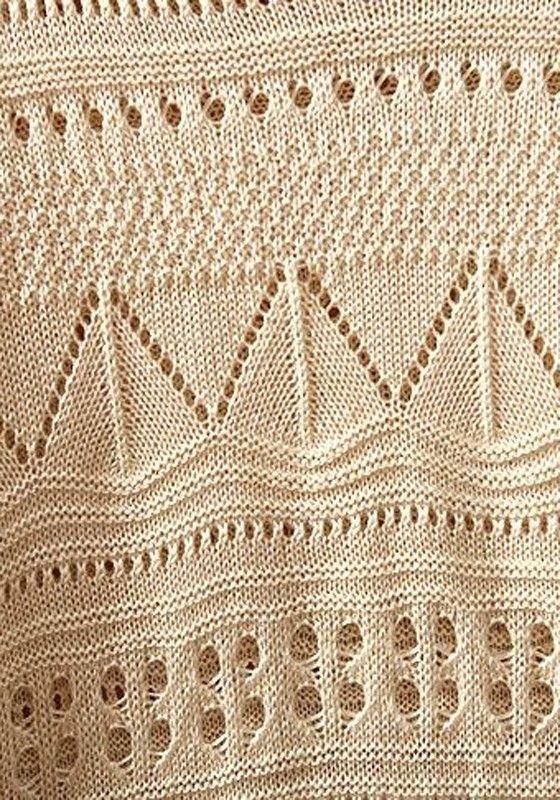 Beige Geometric Irregular Bat Sleeve Loose Acrylic Sweater