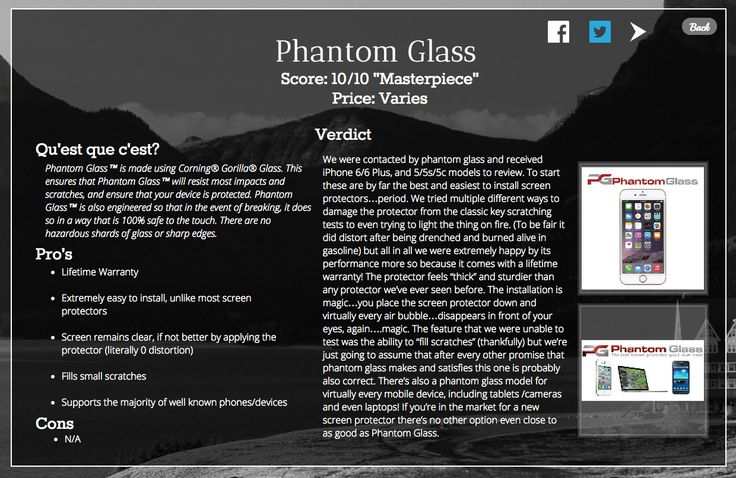 WOW! #PhantomGlass' iPhone 5/6/6+ screen protectors were reviewed on thebizri.com and received a perfect score of 10/10! #ThinkPhantom