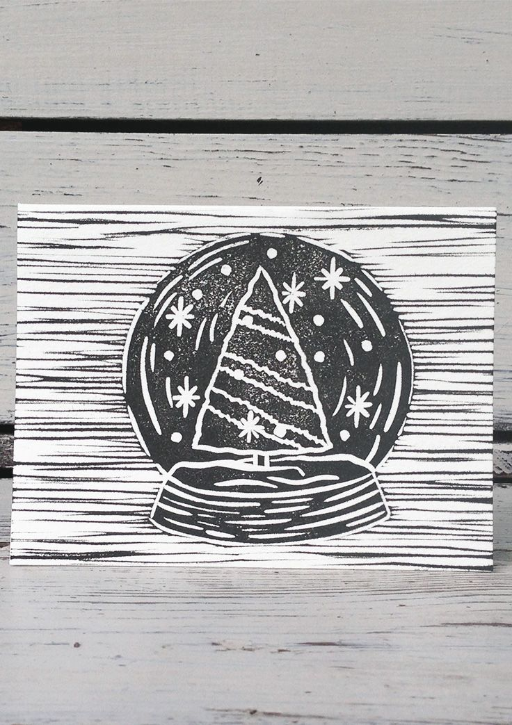 16 best greeting cards images on pinterest small businesses set forth studio snowglobe linocut print greeting card 6 this greeting card reheart Gallery