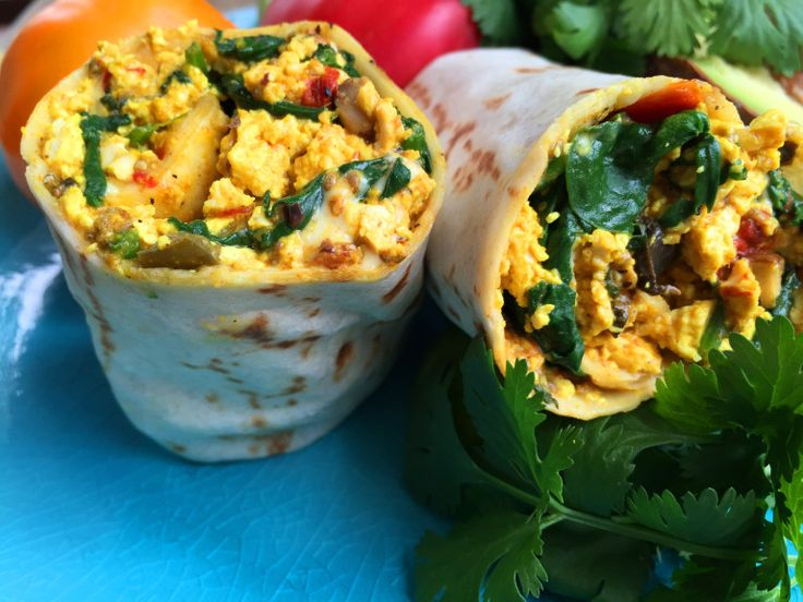 Vegan Tofu Scramble Breakfast Burrito with Mixed Vegetables & Cheese | Delightful-Delicious-Delovely