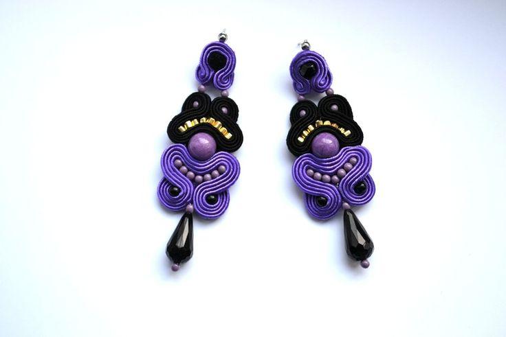 Kolczyki sutasz eleganckie jadeit fioletowe w Biżuteria Stylazka na DaWanda.com