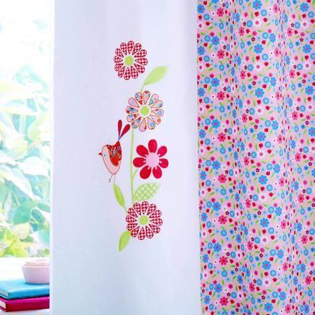 Kids Pink Songbird Lined Pencil Pleat Curtains | Dunelm