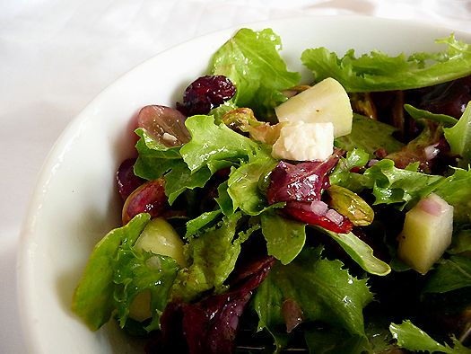 THE Salad: mixed greens, grapes, pear, cranberries, pistachios, gorgonzola w/ sherry shallot vinaigrette