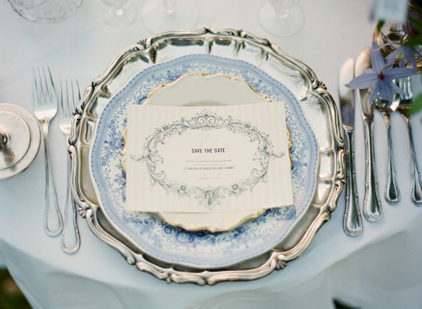 Something blue - bridal tea. Love the silver serving tray used as a charger.