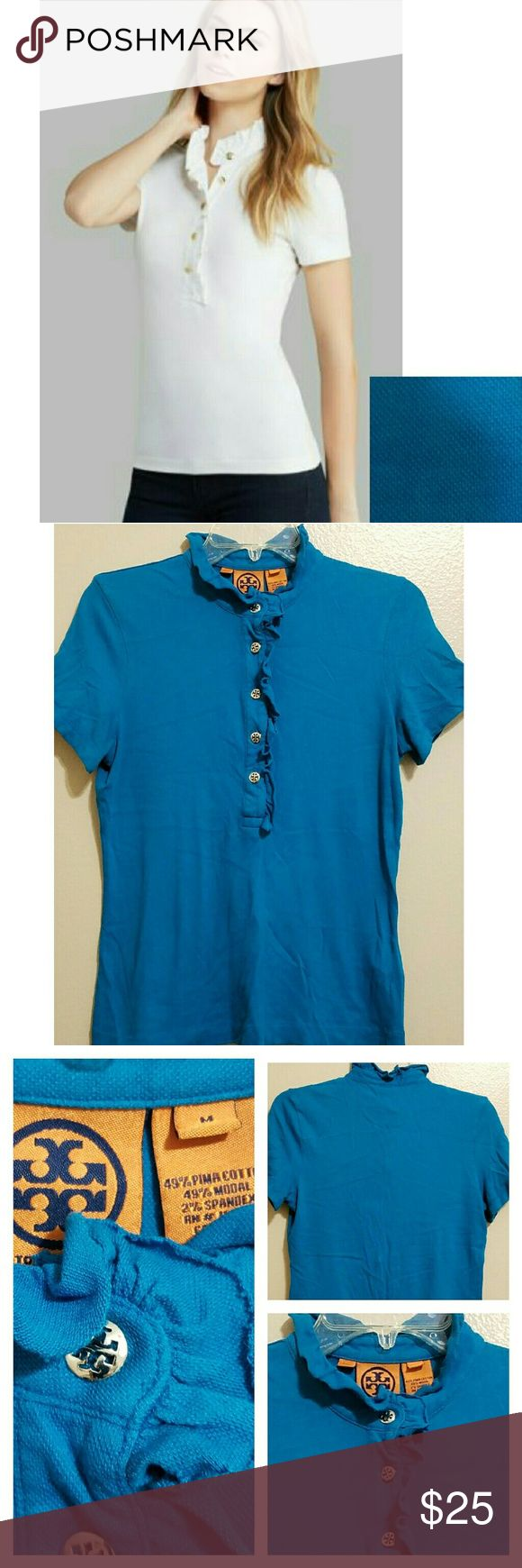 JUST IN!▪Tory Burch Lidia Polo Gorgeous bright blue polo! Stand up ruffle collar. Ruffle collar designed with raw edge. Signature Tory Burch buttons (silver tone). Great condition! The sizing on this runs slightly smaller than most tops, in my opinion. Please note measurements in Pic 3. No holes, rips, or stains. Tory Burch Tops