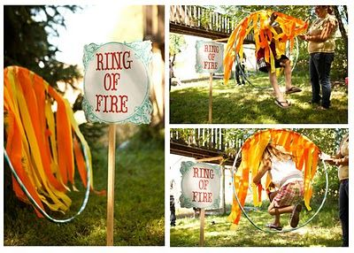 Circus Party Game-Ring of Fire! make with hula hoop and streamers