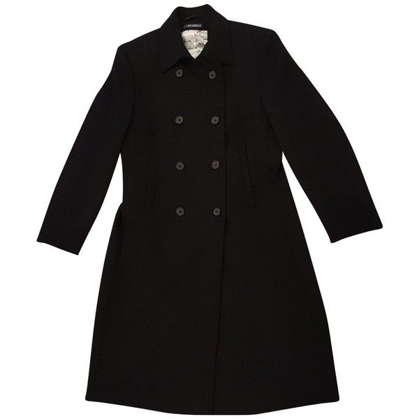 Pre-owned Coat wool (445 CAD) ❤ liked on Polyvore featuring outerwear, coats, jackets, black, woolen coat, short wool coat, short coat, button coat and wool coat