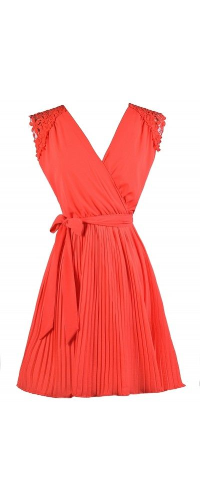 Lily Boutique Danielle Pleated Chiffon Crochet Shoulder Dress in Orange Coral