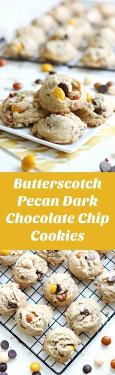 These delicious dark chocolate chip cookies include white chocolate butterscotch M&M's and yummy pecans. This from scratch recipe is easy and the results are chewy. The perfect way to jazz up a plain cookie recipe! These are the best I've tried in a long