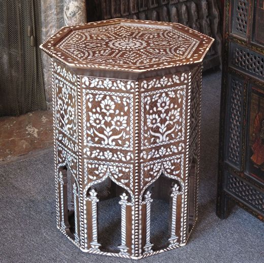 Syrian side table inlaid with mother of pearl.