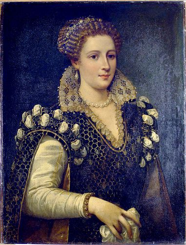 Isabella Romola de' Medici 1542–1576 daughter of Cosimo I de' Medici, 1st Grand Duke of Tuscany &  Eleonora di Toledo. She married Paolo Giordano I Orsini at 16. She remained in her father's household after marriage, giving her an unusual degree of independence for a woman of her period. After her father's death, she was murdered w/ the complicity of her husband & brother. A great beauty, she had a lively, high-spirited & impulsive character that was commented on by courtiers.