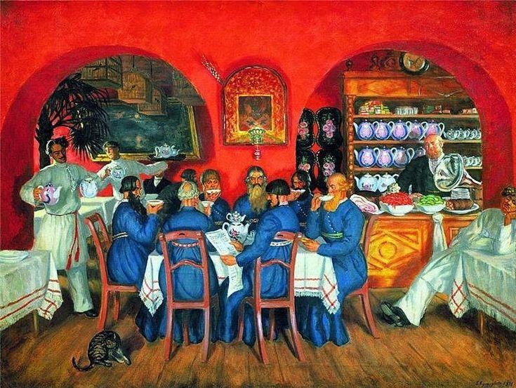 Русские  поговорки: «Чай не пил, откуда силы. Чай попил — совсем ослаб», «Чай пить – долго жить».  Кустодиев Б.М. «Московский трактир»