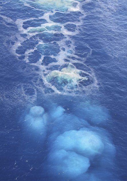 Underwater volcano erupting