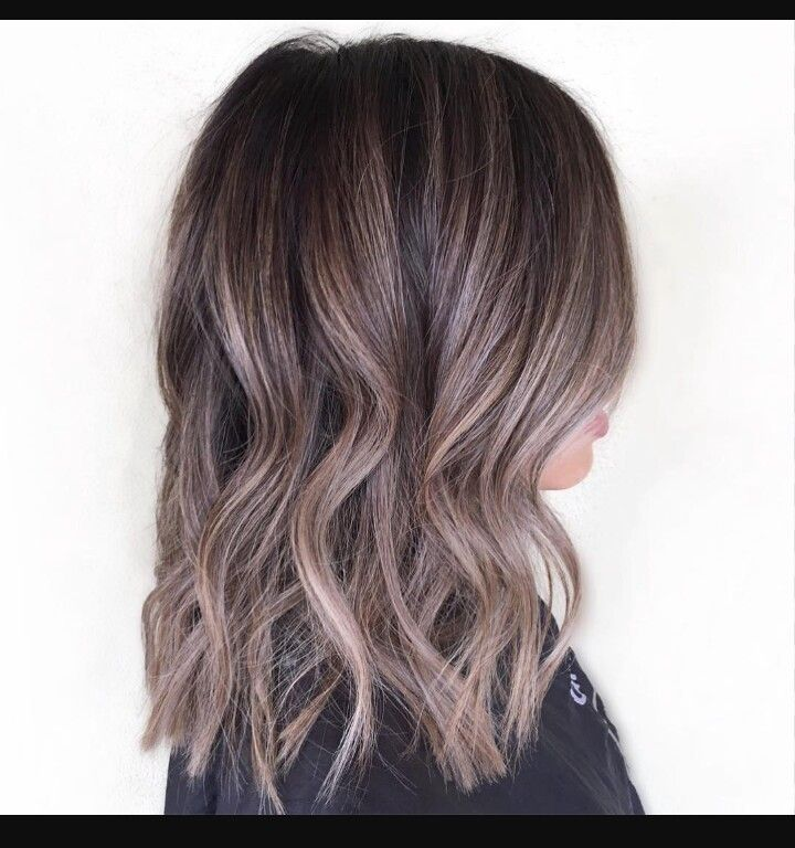 Ash brown balayage for dark hair