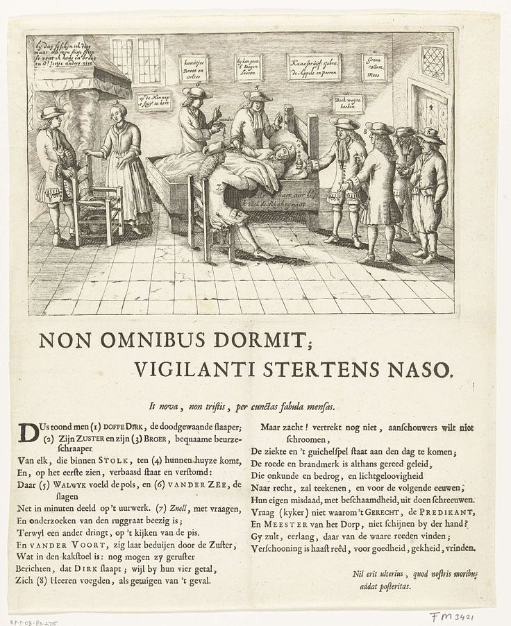 Anonymous   De slapende boer van Stolwijk, 1707, Anonymous, 1707   De slapende boer van Stolwijk, of de zgn. slapende Stolkse boer. Dirk Klaasz de Bakker sliep van 29 juni 1706 tot 11 januari 1707 (27 weken) en is na het wekken weer ingeslapen tot 15 maart 1707. De boer slapend in zijn bed, in de kamer de broer en zuster van de boer, enkele artsen en bezoekers. Gedrukt op het blad onder de plaat een vers in 2 kolommen waarin de goedgelovigheid van de dokters en bezoekers wordt bespot.
