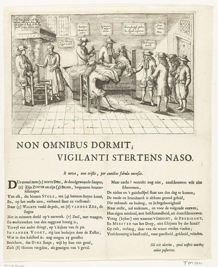 Anonymous | De slapende boer van Stolwijk, 1707, Anonymous, 1707 | De slapende boer van Stolwijk, of de zgn. slapende Stolkse boer. Dirk Klaasz de Bakker sliep van 29 juni 1706 tot 11 januari 1707 (27 weken) en is na het wekken weer ingeslapen tot 15 maart 1707. De boer slapend in zijn bed, in de kamer de broer en zuster van de boer, enkele artsen en bezoekers. Gedrukt op het blad onder de plaat een vers in 2 kolommen waarin de goedgelovigheid van de dokters en bezoekers wordt bespot.