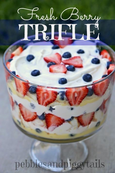 Fresh Berry Trifle. Want a simple, yet refreshing dessert? This trifle with whip cream and pudding is perfect!