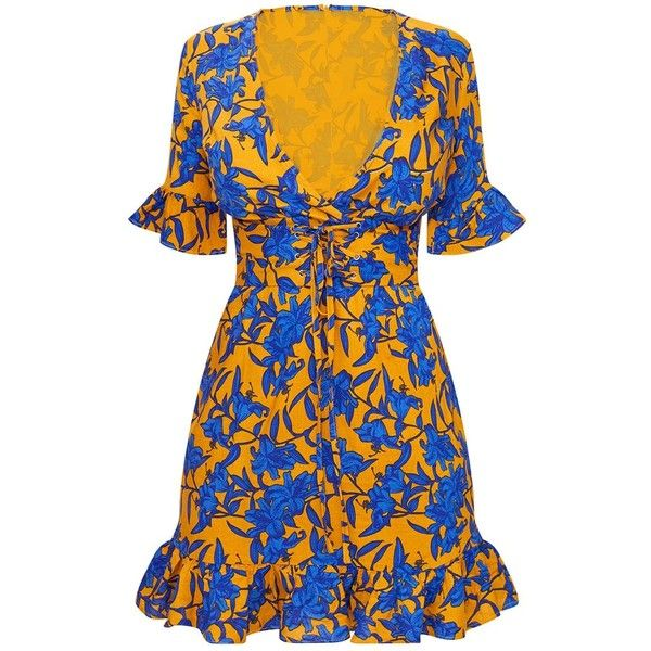 Mustard Floral Corset Swing Dress (110 PEN) ❤ liked on Polyvore featuring dresses, blue swing dress, floral dresses, blue floral dress, tent dress and mustard yellow dresses