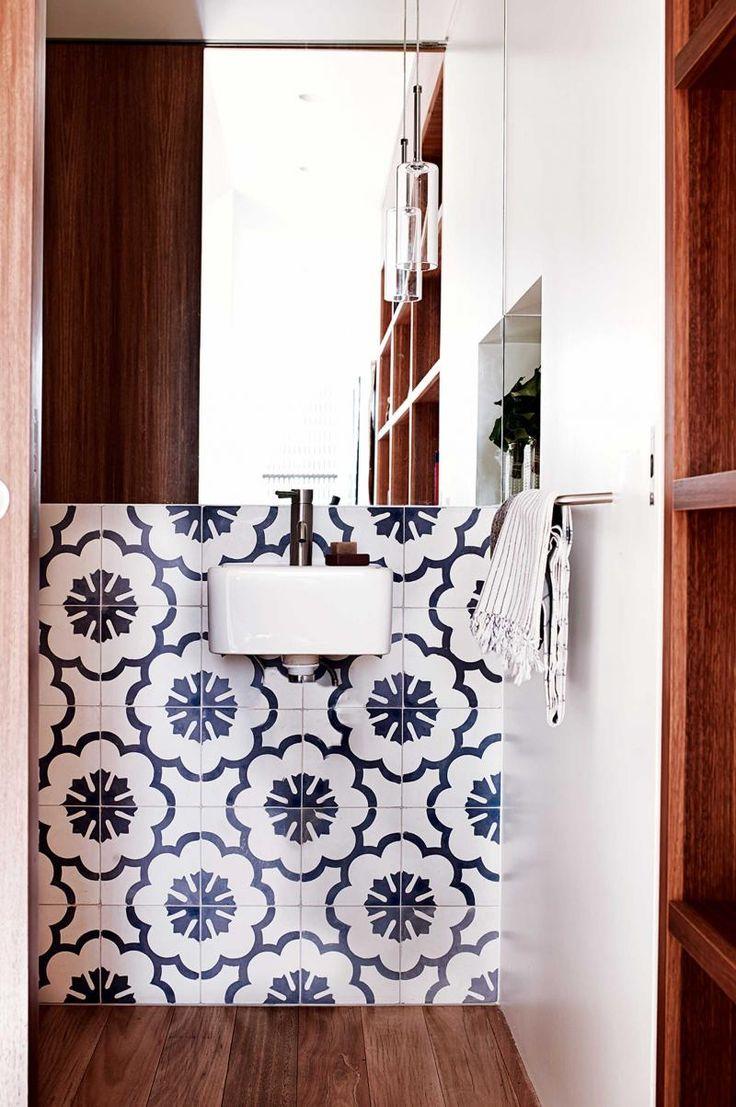 Dec Benn home - #bathroom #hand painted tiles floorboards Photographer: Prue Ruscoe - Stylist: Claire Delmar