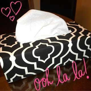 DIY Tissue Box Cover!!! Take a plain, wooden tissue box cover and turn it into this!