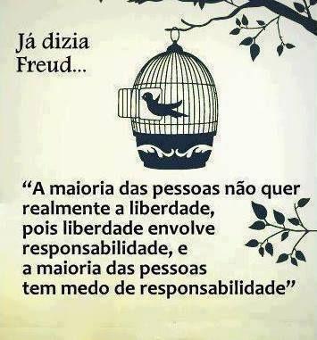 """Já dizia Freud:  """"A maioria das pessoas não querem realmente a liberdade, pois a liberdade envolve responsabilidade e a maioria das pessoas tem medo de responsabilidade."""""""