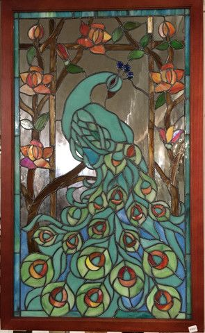 Glass Window Stained Leaded Wood Frame Peacock Design