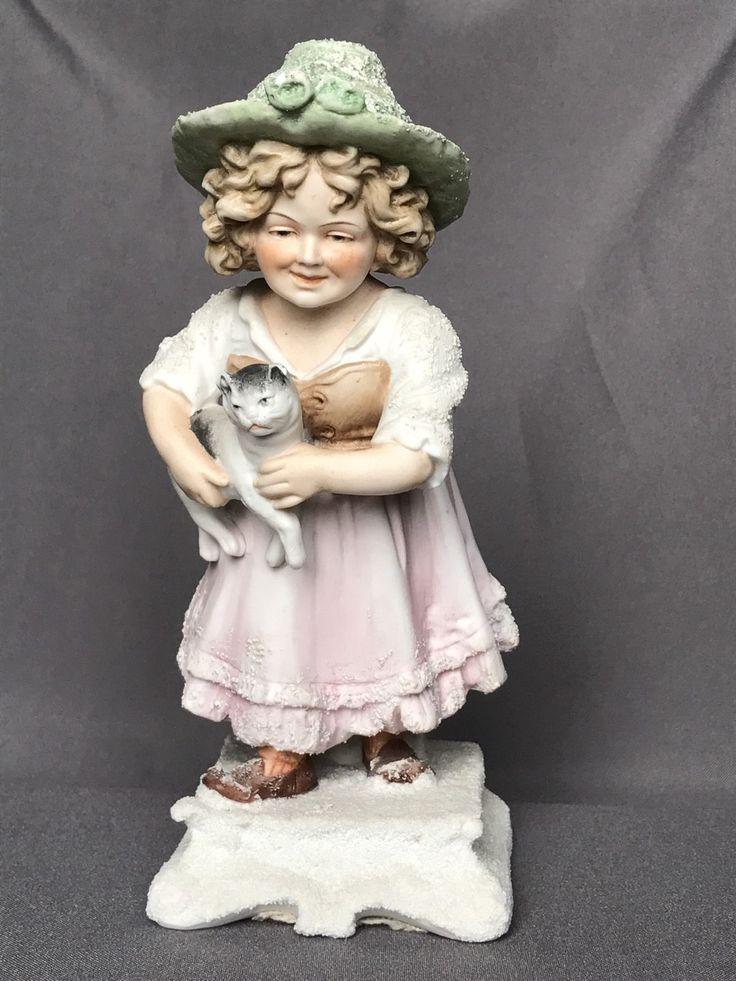 Антикварная galluba гофман snowbaby снег фортепиано ребенок немецкая фарфоровая статуэтка девушка кошка | eBay