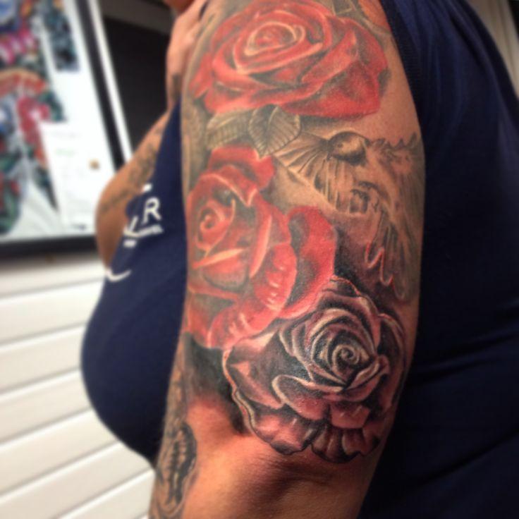 Rose tattoo upper arm tattoo sleeve woman arm tattoo