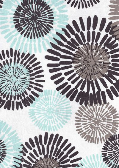 """Cote D Azure, Sea""  44"" wide 100% Combed Cotton   A beautiful, floral in a block print/global look by Michael Miller.  The colors are pale aqua blue with taupe and chocolate on white. Pattern repeat is 23"" vertical x 35"" horizontal. Largest flower ""burst"" is 6"" in diameter.  Great for any home decor accessories, apparel, bedding, curtains, quilting and more. Weighs 150 grams per yard or 5.25 oz."
