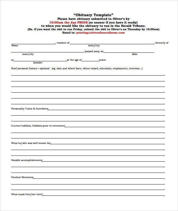 30 Free Printable Obituary Templates In 2020 Obituaries Template