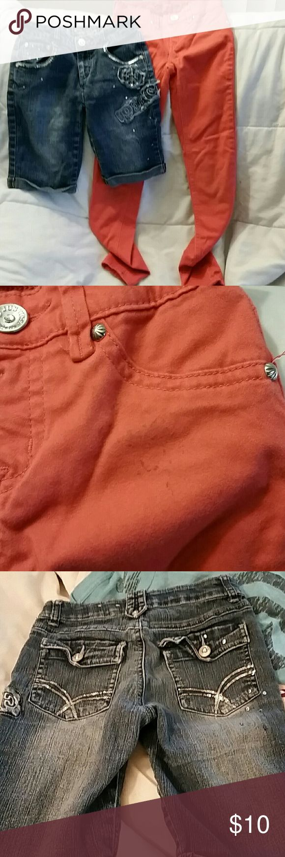 Justice and Total girl jeans 10 Justice pants are jeggins style. Has working button and no zipper.  Has discoloration on fron as seen in picture.  Super soft material.  Justice is 10s and the jeans are 10 reg.  The jeans are super cute with patches and sequins. Justice Bottoms Jeans