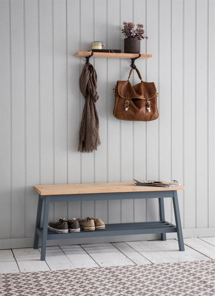 The simple design of the Clockhouse Hallway Bench combines natural oak and painted charcoal to give a lovely juxtaposition between materials and colours
