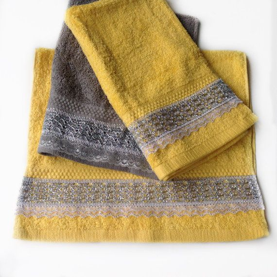Yellow Decorative Towel set Yellow Hand Towel Set by BlingScarves
