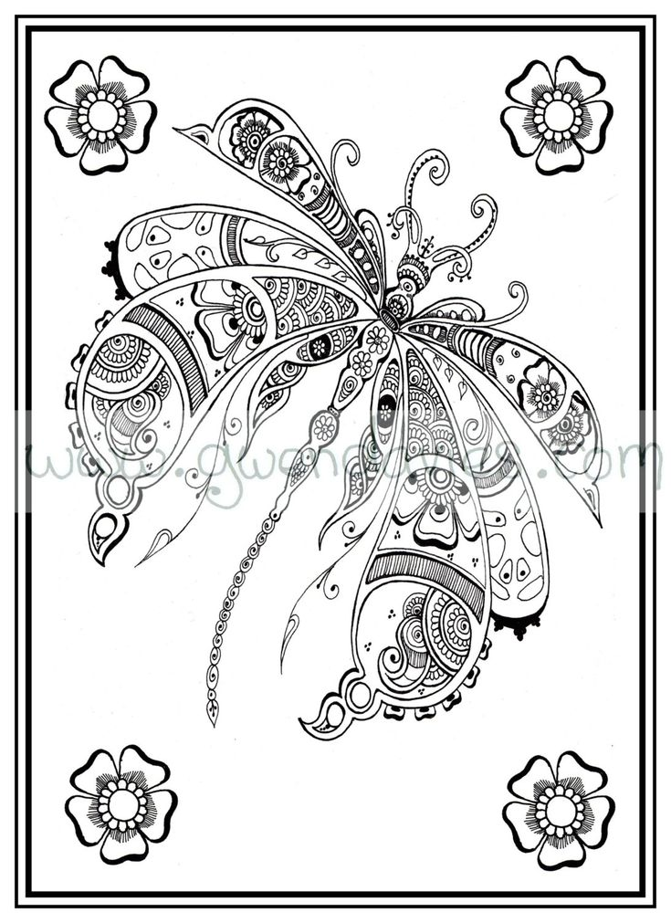 Adult colouring in PDF download dragonfly henna zen mandalas garden anti stress mindfulness flowers by gwendaviesart on Etsy https://www.etsy.com/listing/234630391/adult-colouring-in-pdf-download