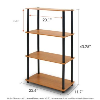 Furinno 99557LC/BK Turn-N-Tube 4-Tier Compact Multipurpose Shelf, Light Cherry/Black