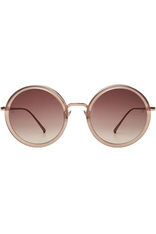 LINDA FARROW Gold-Plated Round Sunglasses. #lindafarrow #