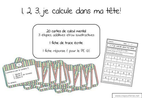 ateliers mathématiques: calcul mental: 1 2 3 je calcule dans ma tête - Crapouilleries