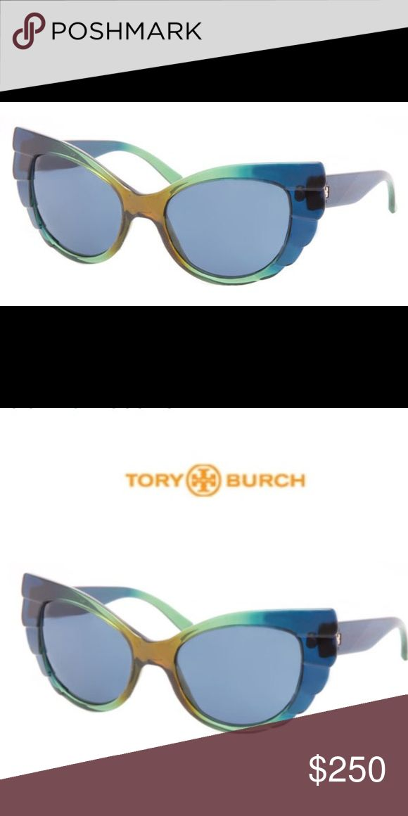 Tory Burch Iridescent Ladies Sunglasses Authentic Tory Burch Multi-color Iridescent Ladies Sunglasses with Blue Lens. Comes with original case. In very good pre-owned condition. Some minor scratches on the lens and frame but not as noticeable.  Eye Width: 55 mm Bridge Width: 19 mm   Temple Arm Length: 135 Tory Burch Accessories Sunglasses
