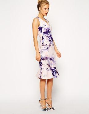 ASOS Summer Floral Pephem Pencil Dress