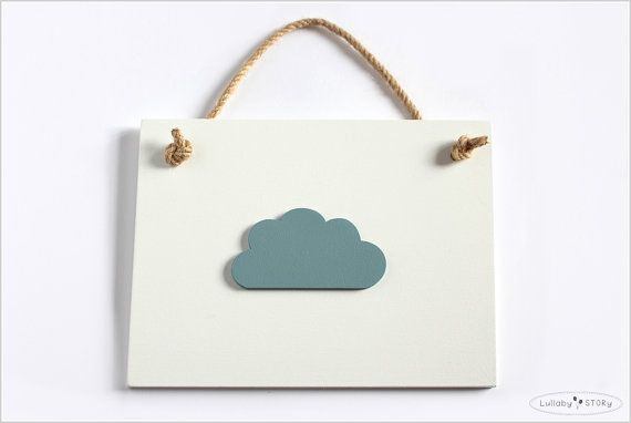 Wooden hand painted picture with cloud  Kids room by LullabySTORY