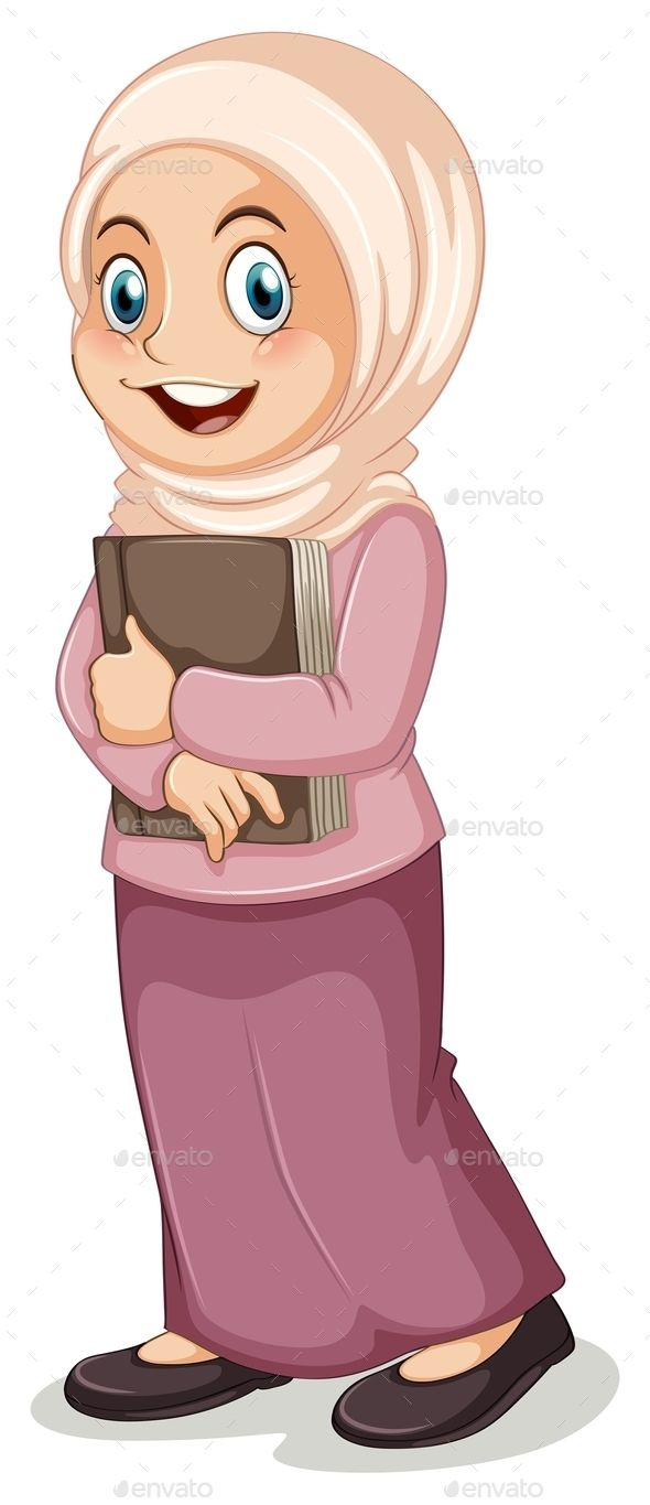 Muslim Girl (JPG Image, Vector EPS, CS, adorable, alone, book, cartoon, child, close up, costume, cute, female, girl, happy, islam, islamic, isolated, kid, muslim, on white, outfit, picture, religion, religious, single, student, teenager, textbook, tradition, traditional, white, white background, woman)