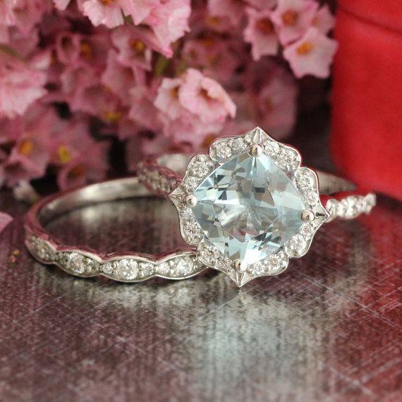Diamond Aquamarine Wedding Ring Set in 14k White Gold 8x8mm Vintage Floral Gemstone Engagement Ring and Scalloped Diamond Wedding Band